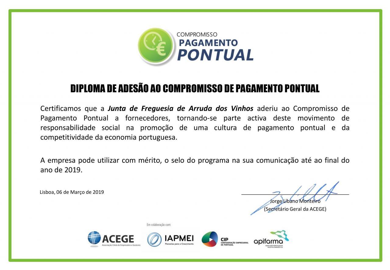 Responsabilidade e Transparência - Junta de Freguesia adere ao «Compromisso de Pagamento Pontual»