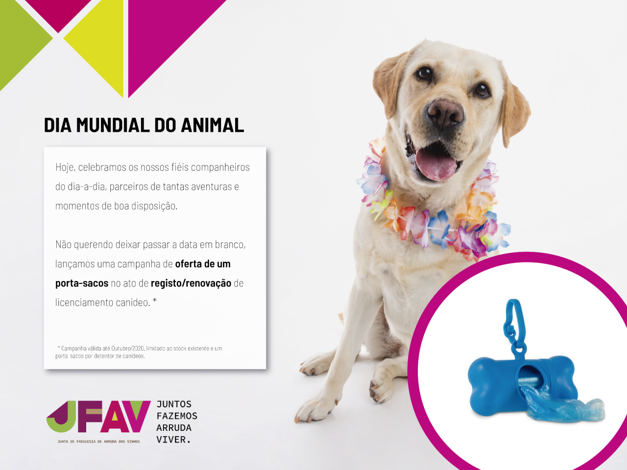 JFAV celebra Dia do Animal com campanha de oferta de porta-sacos